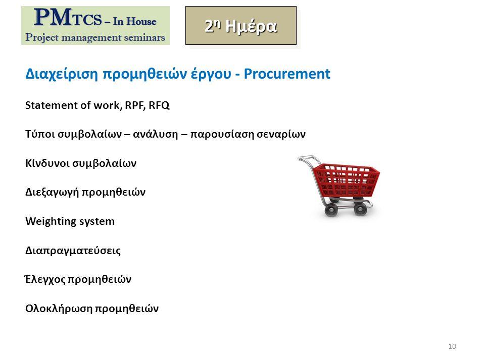 Διαχείριση προμηθειών έργου - Procurement Statement of work, RPF, RFQ Τύποι συμβολαίων – ανάλυση – παρουσίαση σεναρίων Κίνδυνοι συμβολαίων Διεξαγωγή προμηθειών Weighting system Διαπραγματεύσεις Έλεγχος προμηθειών Ολοκλήρωση προμηθειών 2 η Ημέρα 10