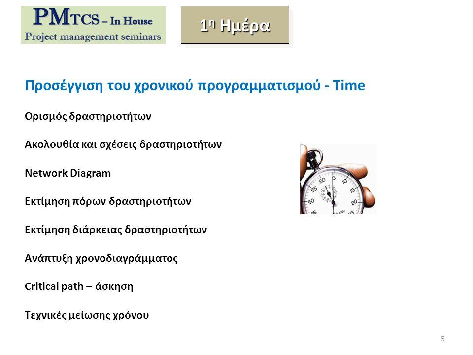 Προσέγγιση του χρονικού προγραμματισμού - Time Ορισμός δραστηριοτήτων Ακολουθία και σχέσεις δραστηριοτήτων Network Diagram Εκτίμηση πόρων δραστηριοτήτων Εκτίμηση διάρκειας δραστηριοτήτων Ανάπτυξη χρονοδιαγράμματος Critical path – άσκηση Τεχνικές μείωσης χρόνου 1 η Ημέρα 5