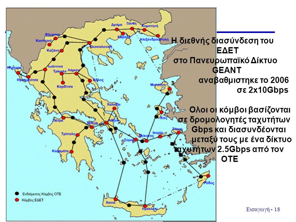 Εισαγωγή - 18 H διεθνής διασύνδεση του ΕΔΕΤ στο Πανευρωπαϊκό Δίκτυο GEANT αναβαθμιστηκε το 2006 σε 2x10Gbps Ολοι οι κόμβοι βασίζονται σε δρομολογητές ταχυτήτων Gbps και διασυνδέονται μεταξύ τους με ένα δίκτυο ταχυτήτων 2.5Gbps από τον ΟΤΕ