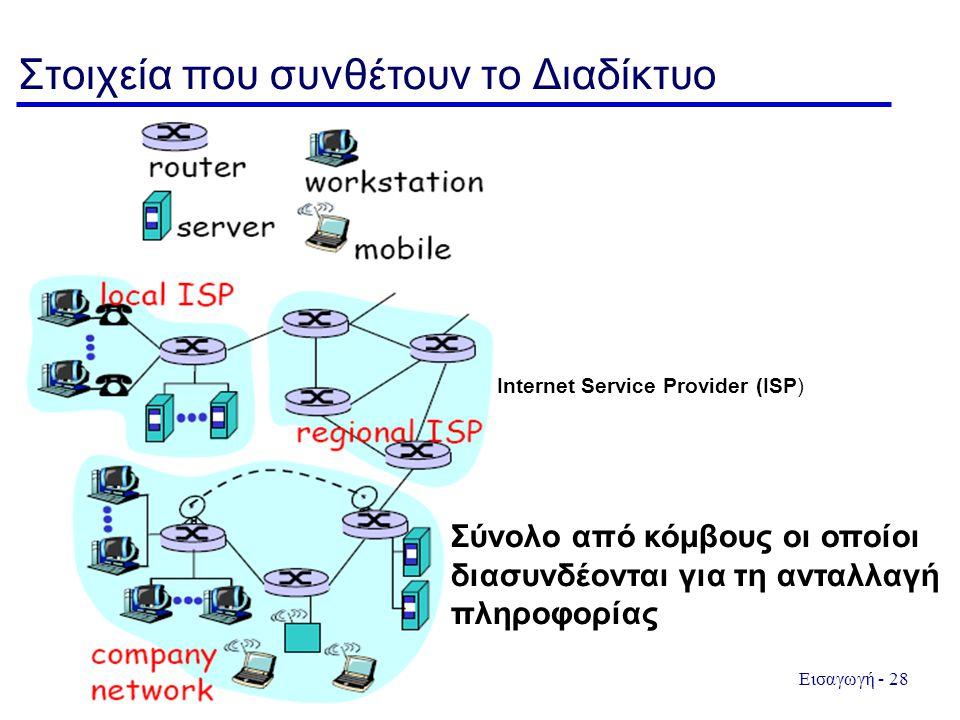 Εισαγωγή - 28 Στοιχεία που συνθέτουν το Διαδίκτυο Internet Service Provider (ISP) Σύνολο από κόμβους οι οποίοι διασυνδέονται για τη ανταλλαγή πληροφορίας