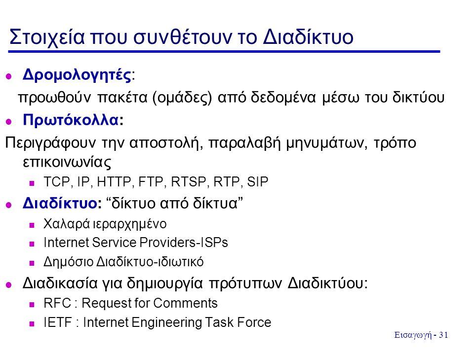 Εισαγωγή - 31 Στοιχεία που συνθέτουν το Διαδίκτυο Δρομολογητές: προωθούν πακέτα (ομάδες) από δεδομένα μέσω του δικτύου Πρωτόκολλα: Περιγράφουν την αποστολή, παραλαβή μηνυμάτων, τρόπο επικοινωνίας TCP, IP, HTTP, FTP, RTSP, RTP, SIP Διαδίκτυο: δίκτυο από δίκτυα Χαλαρά ιεραρχημένο Internet Service Providers-ISPs Δημόσιο Διαδίκτυο-ιδιωτικό Διαδικασία για δημιουργία πρότυπων Διαδικτύου: RFC : Request for Comments IETF : Internet Engineering Task Force