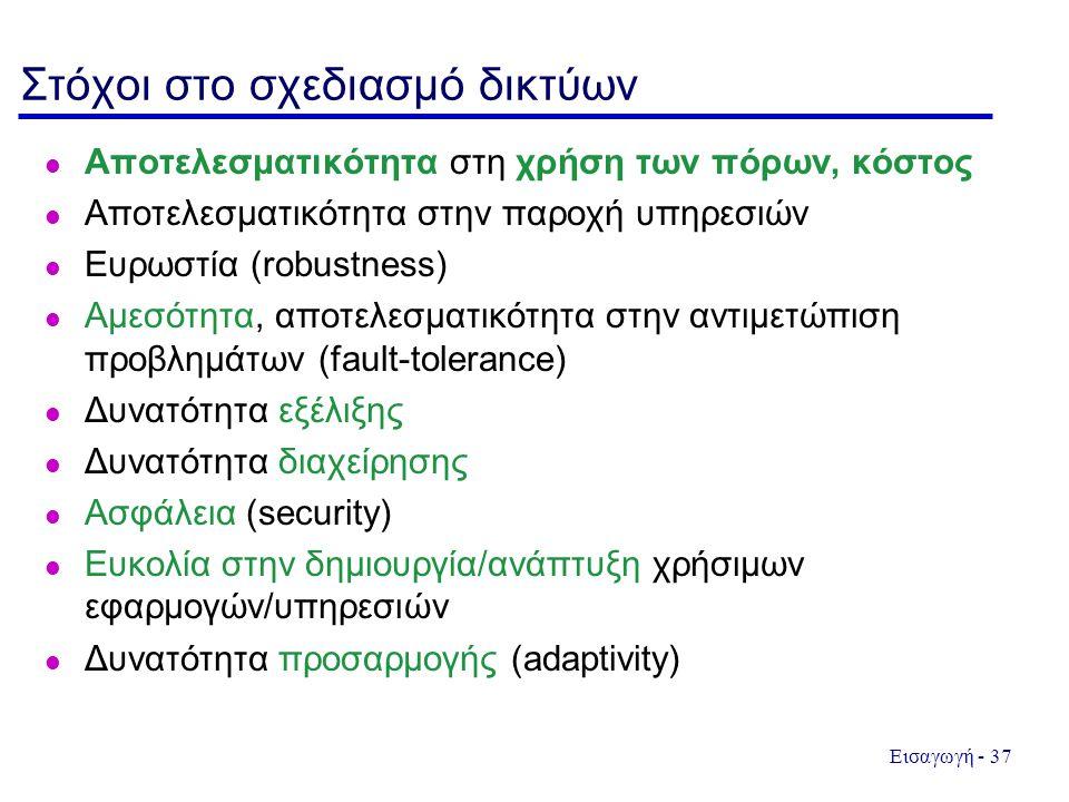 Εισαγωγή - 37 Στόχοι στο σχεδιασμό δικτύων Αποτελεσματικότητα στη χρήση των πόρων, κόστος l Αποτελεσματικότητα στην παροχή υπηρεσιών l Ευρωστία (robustness) l Αμεσότητα, αποτελεσματικότητα στην αντιμετώπιση προβλημάτων (fault-tolerance) Δυνατότητα εξέλιξης Δυνατότητα διαχείρησης Ασφάλεια (security) Ευκολία στην δημιουργία/ανάπτυξη χρήσιμων εφαρμογών/υπηρεσιών Δυνατότητα προσαρμογής (adaptivity)