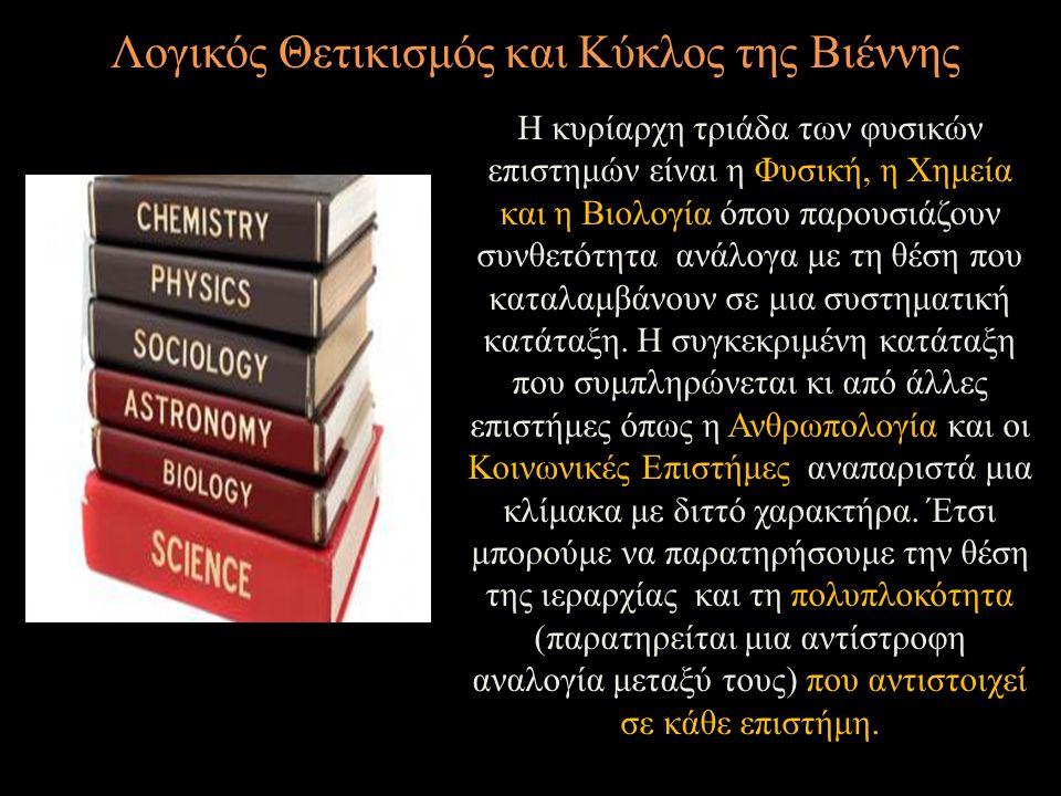 Λογικός Θετικισμός και Κύκλος της Βιέννης Η κυρίαρχη τριάδα των φυσικών επιστημών είναι η Φυσική, η Χημεία και η Βιολογία όπου παρουσιάζουν συνθετότητ