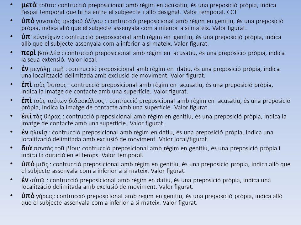 μετὰ τοῦτο: contrucció preposicional amb règim en acusatiu, és una preposició pròpia, indica l'espai temporal que hi ha entre el subjeecte i allò desi