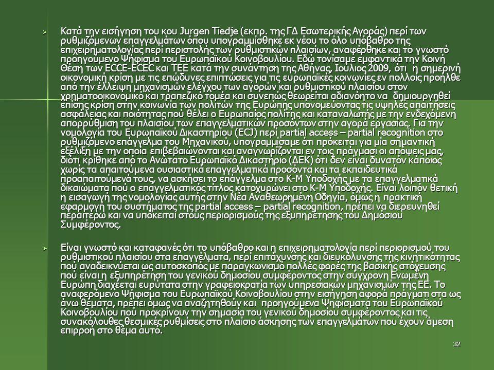 32  Κατά την εισήγηση του κου Jurgen Tiedje (εκπρ. της ΓΔ Εσωτερικής Αγοράς) περί των ρυθμιζόμενων επαγγελμάτων όπου υπογραμμίσθηκε εκ νέου το όλο υπ