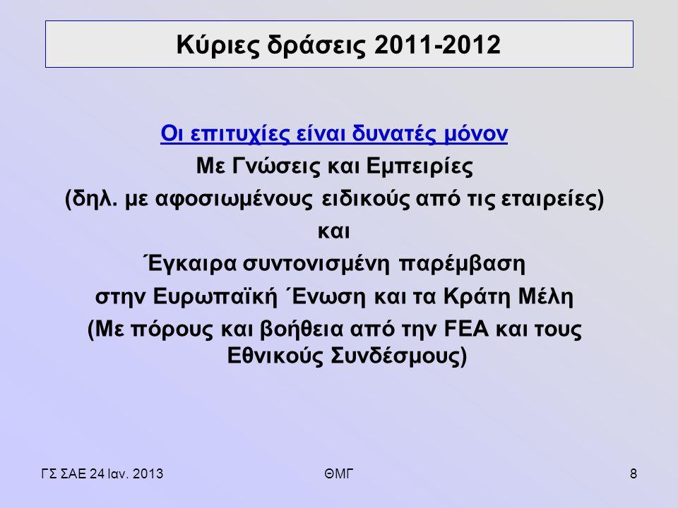 ΓΣ ΣΑΕ 24 Ιαν. 2013ΘΜΓ8 Οι επιτυχίες είναι δυνατές μόνον Με Γνώσεις και Εμπειρίες (δηλ.
