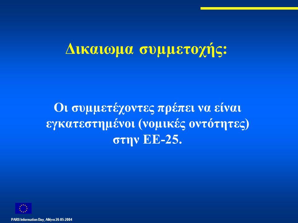PARS Information Day, Αθήνα 26-05-2004 Δικαιωμα συµµετοχής: Οι συµµετέχοντες πρέπει να είναι εγκατεστηµένοι (νοµικές οντότητες) στην ΕΕ-25.