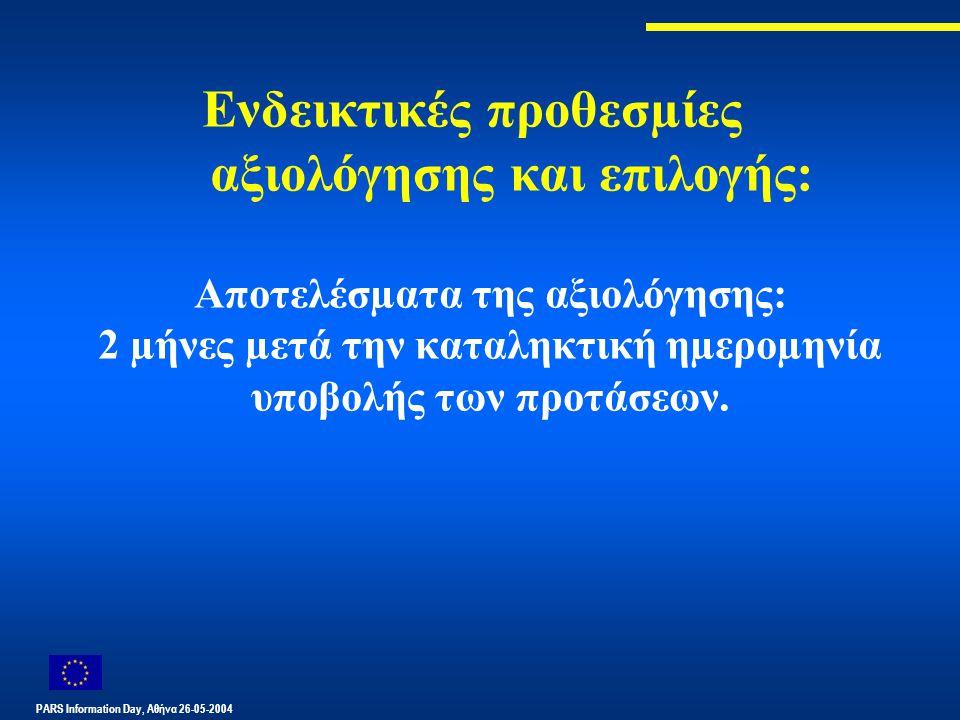 PARS Information Day, Αθήνα 26-05-2004 Ενδεικτικές προθεσµίες αξιολόγησης και επιλογής: Αποτελέσµατα της αξιολόγησης: 2 µήνες µετά την καταληκτική ηµεροµηνία υποβολής των προτάσεων.