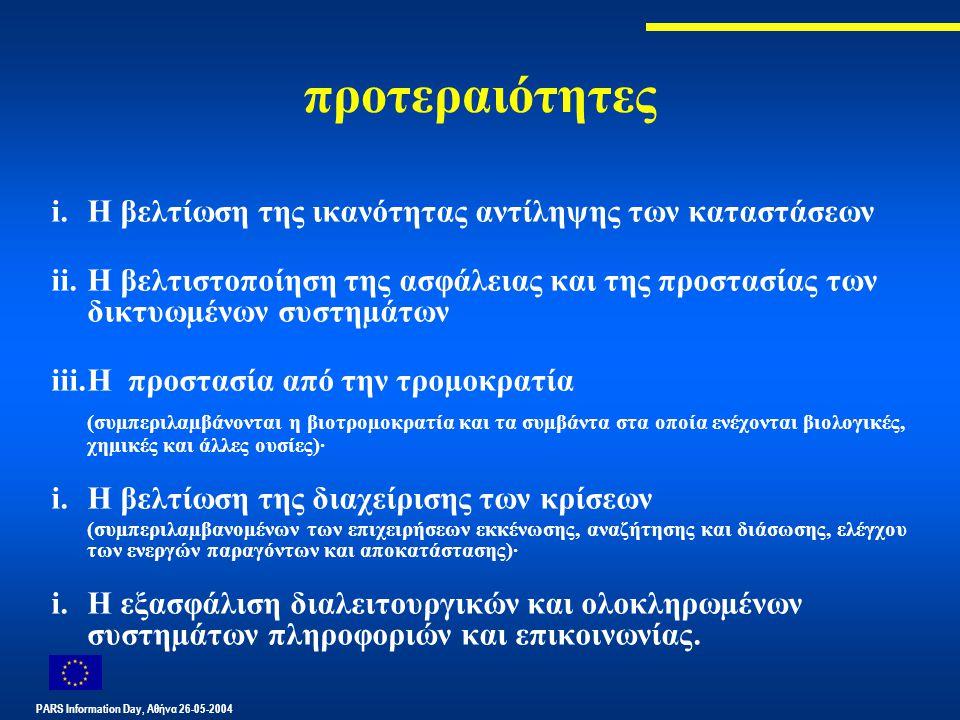 PARS Information Day, Αθήνα 26-05-2004 προτεραιότητες i.Η βελτίωση της ικανότητας αντίληψης των καταστάσεων ii.Η βελτιστοποίηση της ασφάλειας και της προστασίας των δικτυωµένων συστηµάτων iii.Η προστασία από την τροµοκρατία (συµπεριλαµβάνονται η βιοτροµοκρατία και τα συµβάντα στα οποία ενέχονται βιολογικές, χηµικές και άλλες ουσίες)· i.Η βελτίωση της διαχείρισης των κρίσεων (συµπεριλαµβανοµένων των επιχειρήσεων εκκένωσης, αναζήτησης και διάσωσης, ελέγχου των ενεργών παραγόντων και αποκατάστασης)· i.Η εξασφάλιση διαλειτουργικών και ολοκληρωµένων συστηµάτων πληροφοριών και επικοινωνίας.