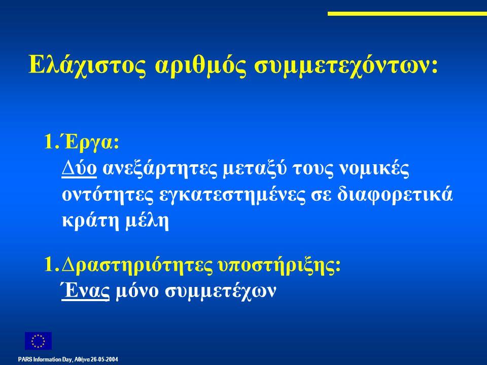 PARS Information Day, Αθήνα 26-05-2004 Ελάχιστος αριθµός συµµετεχόντων: 1.Έργα: ∆ύο ανεξάρτητες µεταξύ τους νοµικές οντότητες εγκατεστηµένες σε διαφορετικά κράτη µέλη 1.∆ραστηριότητες υποστήριξης: Ένας µόνο συµµετέχων