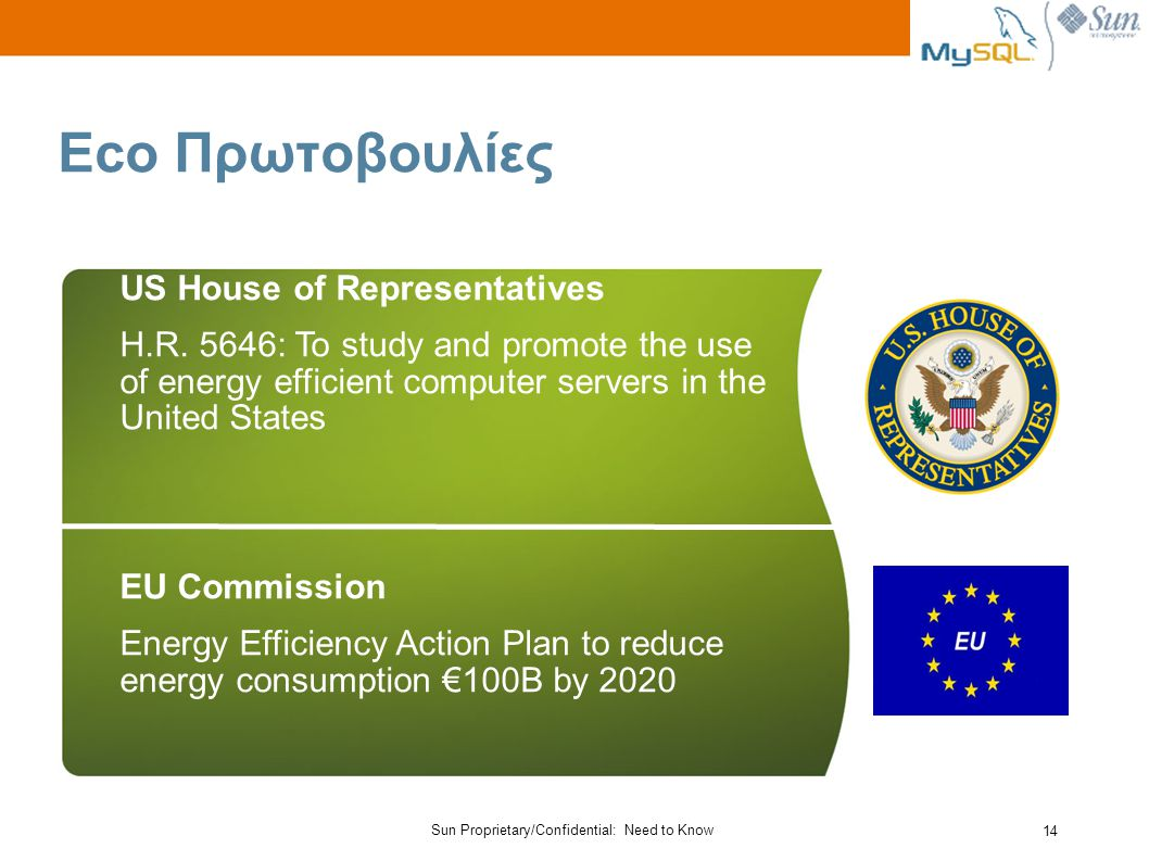 Sun Proprietary/Confidential: Need to Know 14 Eco Πρωτοβουλίες US House of Representatives H.R.