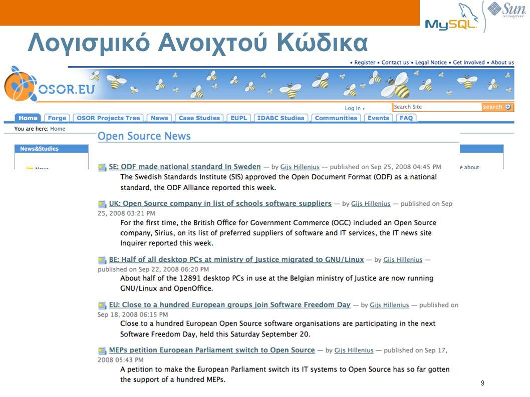 Sun Proprietary/Confidential: Need to Know 9 Λογισμικό Ανοιχτού Κώδικα