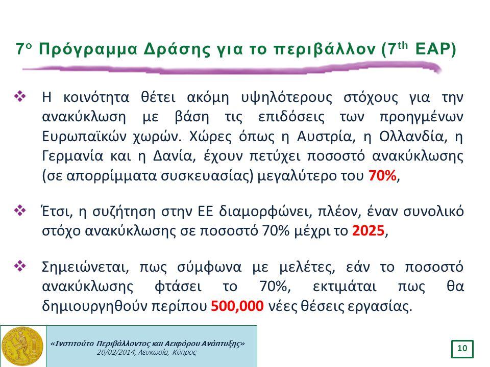 «Ινστιτούτο Περιβάλλοντος και Αειφόρου Ανάπτυξης» 20/02/2014, Λευκωσία, Κύπρος 10  Η κοινότητα θέτει ακόμη υψηλότερους στόχους για την ανακύκλωση με