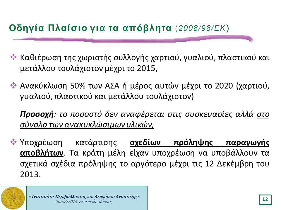 «Ινστιτούτο Περιβάλλοντος και Αειφόρου Ανάπτυξης» 20/02/2014, Λευκωσία, Κύπρος 12  Καθιέρωση της χωριστής συλλογής χαρτιού, γυαλιού, πλαστικού και με