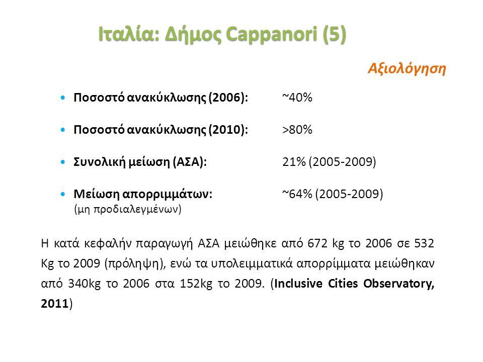 «Ινστιτούτο Περιβάλλοντος και Αειφόρου Ανάπτυξης» 20/02/2014, Λευκωσία, Κύπρος 38 Ποσοστό ανακύκλωσης (2006): ~40% Ποσοστό ανακύκλωσης (2010): >80% Συ