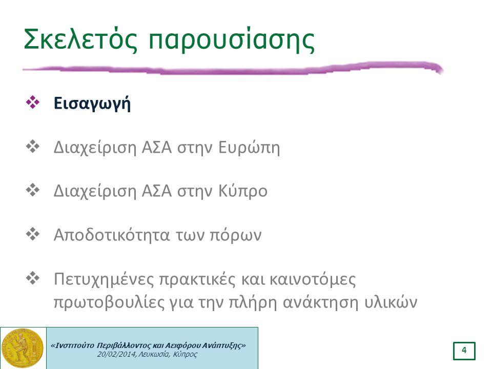 «Ινστιτούτο Περιβάλλοντος και Αειφόρου Ανάπτυξης» 20/02/2014, Λευκωσία, Κύπρος 4  Εισαγωγή  Διαχείριση ΑΣΑ στην Ευρώπη  Διαχείριση ΑΣΑ στην Κύπρο 
