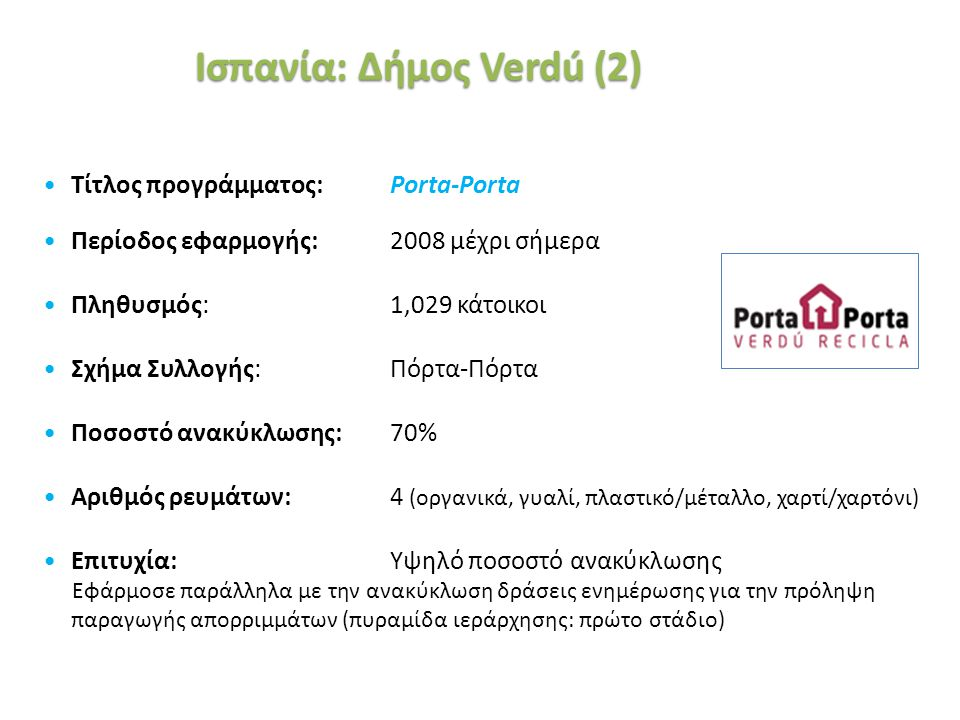 «Ινστιτούτο Περιβάλλοντος και Αειφόρου Ανάπτυξης» 20/02/2014, Λευκωσία, Κύπρος 40 Τίτλος προγράμματος: Porta-Porta Περίοδος εφαρμογής: 2008 μέχρι σήμε