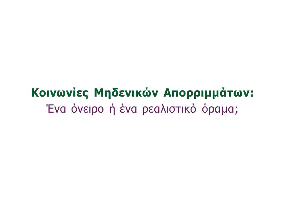 «Ινστιτούτο Περιβάλλοντος και Αειφόρου Ανάπτυξης» 20/02/2014, Λευκωσία, Κύπρος 62 Κοινωνίες Μηδενικών Απορριμμάτων: Ένα όνειρο ή ένα ρεαλιστικό όραμα;