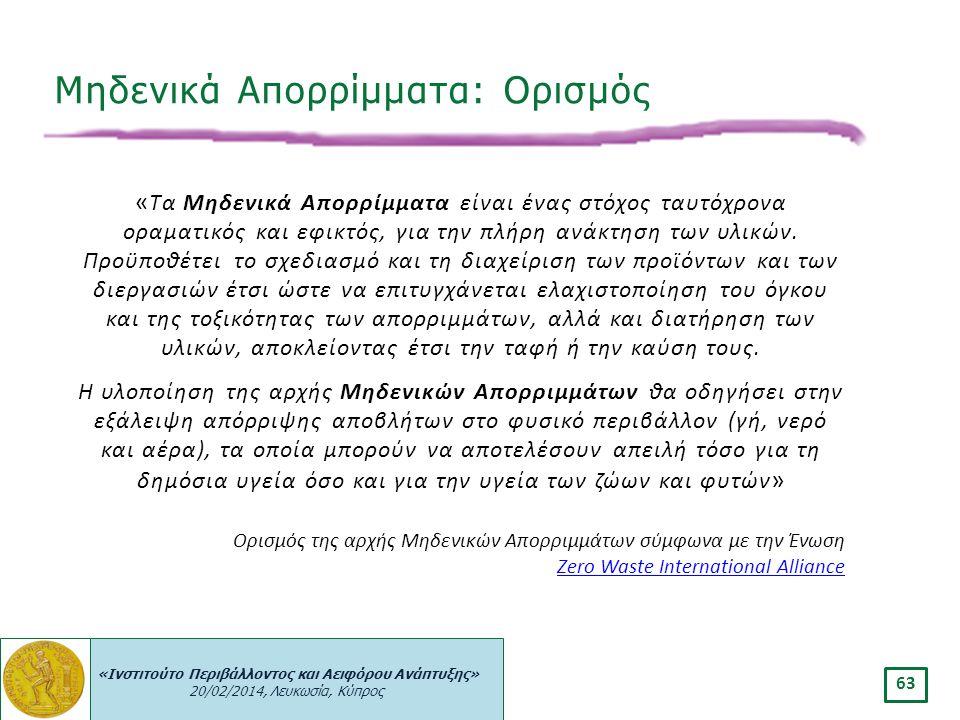 «Ινστιτούτο Περιβάλλοντος και Αειφόρου Ανάπτυξης» 20/02/2014, Λευκωσία, Κύπρος 63 « Τα Μηδενικά Απορρίμματα είναι ένας στόχος ταυτόχρονα οραματικός κα