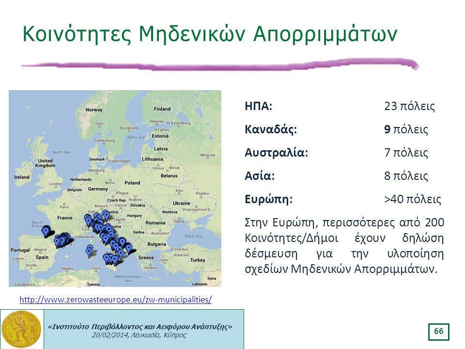 «Ινστιτούτο Περιβάλλοντος και Αειφόρου Ανάπτυξης» 20/02/2014, Λευκωσία, Κύπρος 66 Κοινότητες Μηδενικών Απορριμμάτων http://www.zerowasteeurope.eu/zw-m
