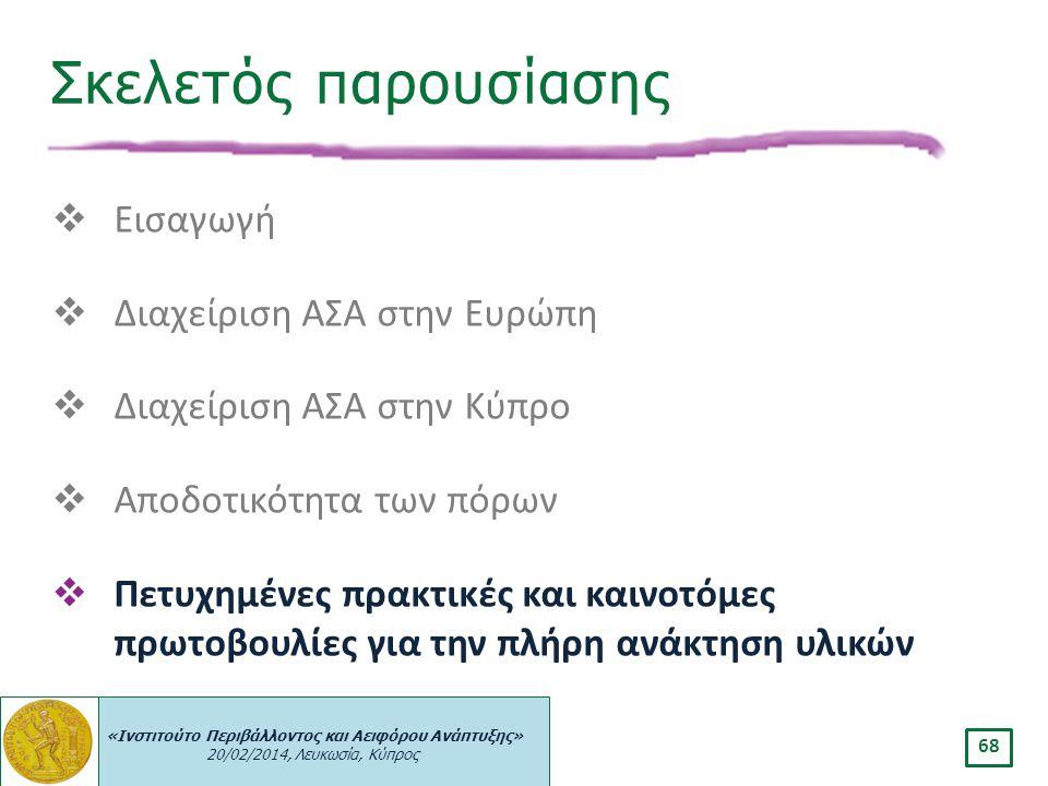 «Ινστιτούτο Περιβάλλοντος και Αειφόρου Ανάπτυξης» 20/02/2014, Λευκωσία, Κύπρος 68  Εισαγωγή  Διαχείριση ΑΣΑ στην Ευρώπη  Διαχείριση ΑΣΑ στην Κύπρο