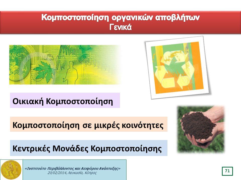 «Ινστιτούτο Περιβάλλοντος και Αειφόρου Ανάπτυξης» 20/02/2014, Λευκωσία, Κύπρος 71 Οικιακή Κομποστοποίηση Κεντρικές Μονάδες Κομποστοποίησης Κομποστοποί