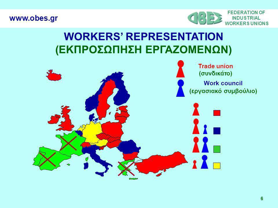 FEDERATION OF INDUSTRIAL WORKERS UNIONS 6 www.obes.gr WORKERS' REPRESENTATION (ΕΚΠΡΟΣΩΠΗΣΗ ΕΡΓΑΖΟΜΕΝΩΝ) Trade union (συνδικάτο) Work council (εργασιακό συμβούλιο)