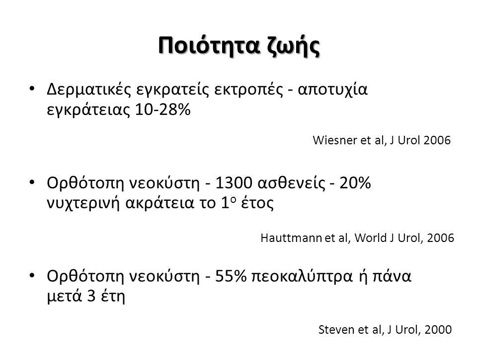 Ποιότητα ζωής Δερματικές εγκρατείς εκτροπές - αποτυχία εγκράτειας 10-28% Ορθότοπη νεοκύστη - 1300 ασθενείς - 20% νυχτερινή ακράτεια το 1 ο έτος Ορθότοπη νεοκύστη - 55% πεοκαλύπτρα ή πάνα μετά 3 έτη Wiesner et al, J Urol 2006 Hauttmann et al, World J Urol, 2006 Steven et al, J Urol, 2000