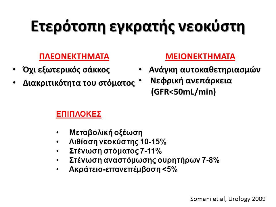 Ποιότητα ζωής HRQoL Φυσική κατάσταση Συναισθηματική κατάσταση Γενική υγεία Κοινωνική δραστηριότητα Ψυχική υγεία Ορθότοπη - καλύτερη φυσική δραστηριότητα Ileal Conduit - διαταραχή σωματικής εικόνας Philip et al, Ann R Coll Engl, 2009
