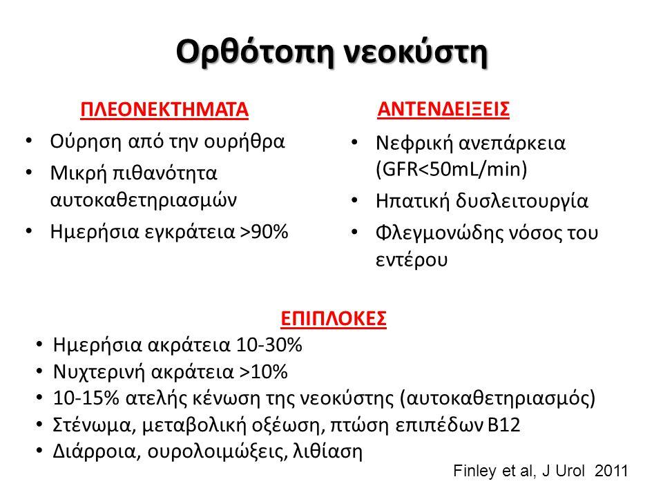 Ορθότοπη νεοκύστη ΑΝΤΕΝΔΕΙΞΕΙΣ Νεφρική ανεπάρκεια (GFR<50mL/min) Ηπατική δυσλειτουργία Φλεγμονώδης νόσος του εντέρου ΕΠΙΠΛΟΚΕΣ Ημερήσια ακράτεια 10-30% Νυχτερινή ακράτεια >10% 10-15% ατελής κένωση της νεοκύστης (αυτοκαθετηριασμός) Στένωμα, μεταβολική οξέωση, πτώση επιπέδων Β12 Διάρροια, ουρολοιμώξεις, λιθίαση ΠΛΕΟΝΕΚΤΗΜΑΤΑ Ούρηση από την ουρήθρα Μικρή πιθανότητα αυτοκαθετηριασμών Ημερήσια εγκράτεια >90% Finley et al, J Urol 2011