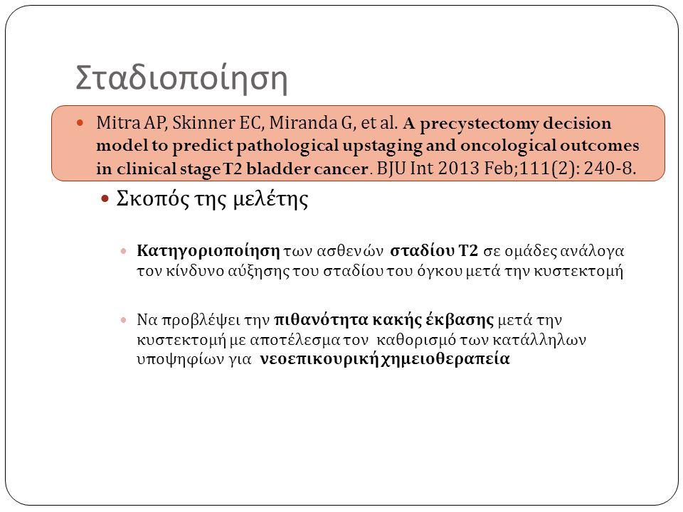 Follow up Υποτροπή στην ουρήθρα 1,5-6% στους άνδρες & 0,83-4,3 στις γυναίκες Μέση επιβίωση 28-38 μήνες Παρακολούθηση με κυτταρολογική εκπλύματος ουρήθρας και ουρηθροσκόπηση Αύξηση επιβίωσης με έγκαιρη ανίχνευσης των υποτροπών Χρησιμοποιούμενες θεραπείες BCG ενδοουρηθρικά – σε CIS Ουρηθρεκτομή