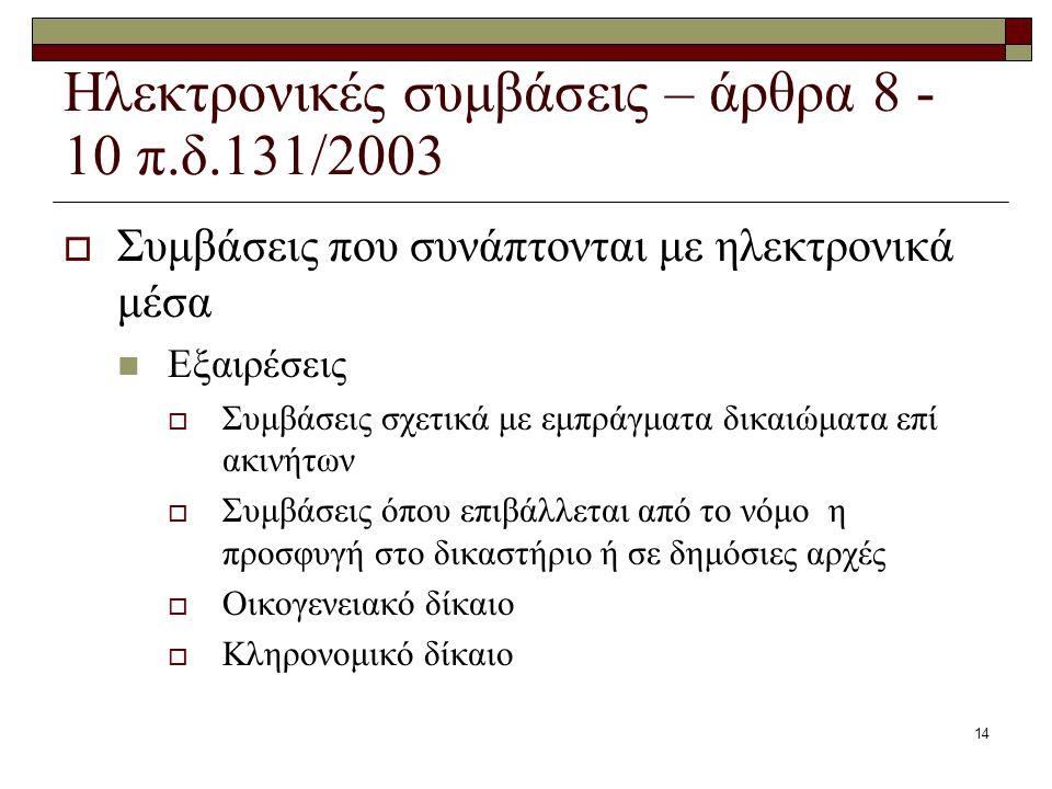 14 Ηλεκτρονικές συμβάσεις – άρθρα 8 - 10 π.δ.131/2003  Συμβάσεις που συνάπτονται με ηλεκτρονικά μέσα Εξαιρέσεις  Συμβάσεις σχετικά με εμπράγματα δικ