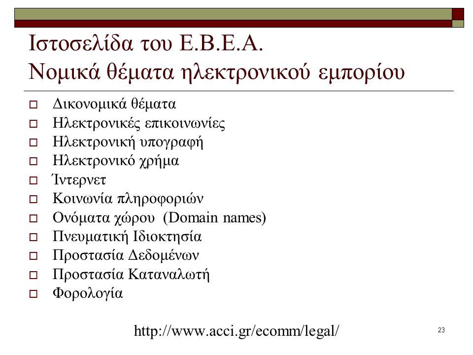 23 Ιστοσελίδα του Ε.Β.Ε.Α. Νομικά θέματα ηλεκτρονικού εμπορίου  Δικονομικά θέματα  Ηλεκτρονικές επικοινωνίες  Ηλεκτρονική υπογραφή  Ηλεκτρονικό χρ