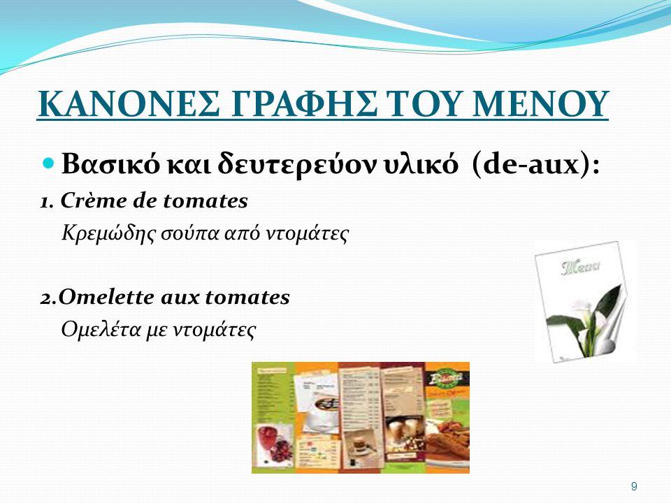 ΚΑΝΟΝΕΣ ΓΡΑΦΗΣ ΤΟΥ ΜΕΝΟΥ Σε περίπτωση που θέλουμε να δείξουμε τον τρόπο παράθεσης ενός φαγητού (en-μέσα σε) Oeufs en Cocote Αυγά σε κοκοτιέρα Consommé Froid en Tasse Κρύος Κονσομέ σε φλιτζάνι Agneau en Papillote Αρνάκι στο χαρτί 10