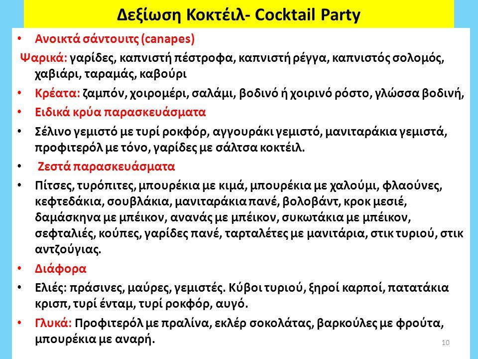 Δεξίωση Κοκτέιλ- Cocktail Party Ανοικτά σάντουιτς (canapes) Ψαρικά: γαρίδες, καπνιστή πέστροφα, καπνιστή ρέγγα, καπνιστός σολομός, χαβιάρι, ταραμάς, καβούρι Κρέατα: ζαμπόν, χοιρομέρι, σαλάμι, βοδινό ή χοιρινό ρόστο, γλώσσα βοδινή, Ειδικά κρύα παρασκευάσματα Σέλινο γεμιστό με τυρί ροκφόρ, αγγουράκι γεμιστό, μανιταράκια γεμιστά, προφιτερόλ με τόνο, γαρίδες με σάλτσα κοκτέιλ.