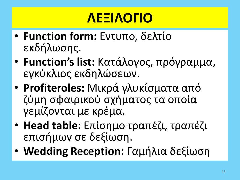 ΛΕΞΙΛΟΓΙΟ Function form: Εντυπο, δελτίο εκδήλωσης. Function's list: Κατάλογος, πρόγραμμα, εγκύκλιος εκδηλώσεων. Profiteroles: Μικρά γλυκίσματα από ζύμ