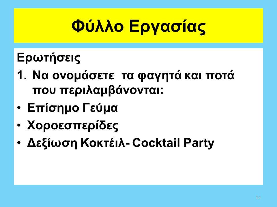 Φύλλο Εργασίας Ερωτήσεις 1.Να ονομάσετε τα φαγητά και ποτά που περιλαμβάνονται: Επίσημο Γεύμα Χοροεσπερίδες Δεξίωση Κοκτέιλ- Cocktail Party 14