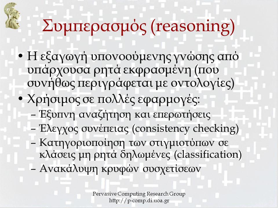 Pervasive Computing Research Group http://p-comp.di.uoa.gr Συμπερασμός (reasoning) Η εξαγωγή υπονοούμενης γνώσης από υπάρχουσα ρητά εκφρασμένη (που συνήθως περιγράφεται με οντολογίες) Χρήσιμος σε πολλές εφαρμογές: –Έξυπνη αναζήτηση και επερωτήσεις –Έλεγχος συνέπειας (consistency checking) –Κατηγοριοποίηση των στιγμιοτύπων σε κλάσεις μη ρητά δηλωμένες (classification) –Ανακάλυψη κρυφών συσχετίσεων