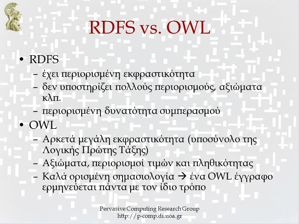 Pervasive Computing Research Group http://p-comp.di.uoa.gr RDFS vs. OWL RDFS –έχει περιορισμένη εκφραστικότητα –δεν υποστηρίζει πολλούς περιορισμούς,