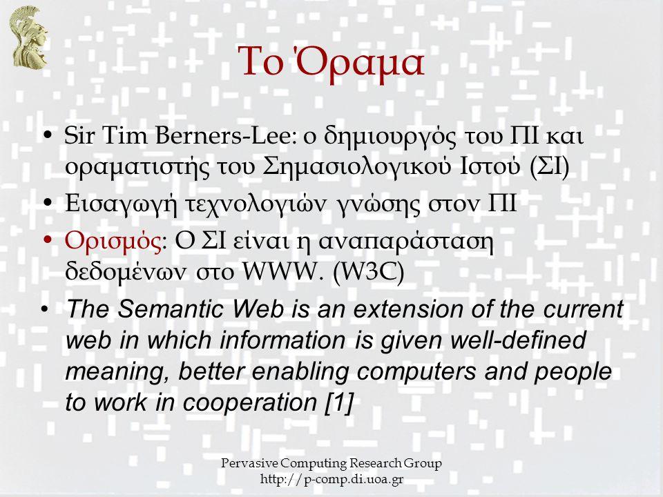 Pervasive Computing Research Group http://p-comp.di.uoa.gr Το Όραμα Sir Tim Berners-Lee: ο δημιουργός του ΠΙ και οραματιστής του Σημασιολογικού Ιστού (ΣΙ) Εισαγωγή τεχνολογιών γνώσης στον ΠΙ Ορισμός: Ο ΣΙ είναι η αναπαράσταση δεδομένων στο WWW.