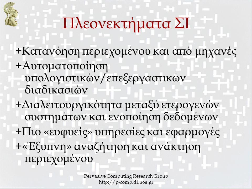 Pervasive Computing Research Group http://p-comp.di.uoa.gr Πλεονεκτήματα ΣΙ +Κατανόηση περιεχομένου και από μηχανές +Αυτοματοποίηση υπολογιστικών/επεξ