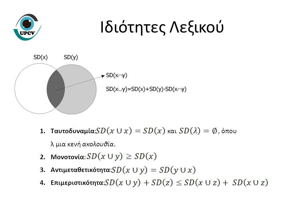 Ιδιότητες Λεξικού 1.Ταυτοδυναμία: και, όπου λ μια κενή ακολουθία. 2.Μονοτονία: 3.Αντιμεταθετικότητα: 4.Επιμεριστικότητα: