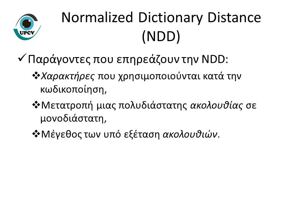 Παράγοντες που επηρεάζουν την NDD:  Χαρακτήρες που χρησιμοποιούνται κατά την κωδικοποίηση,  Μετατροπή μιας πολυδιάστατης ακολουθίας σε μονοδιάστατη,  Μέγεθος των υπό εξέταση ακολουθιών.