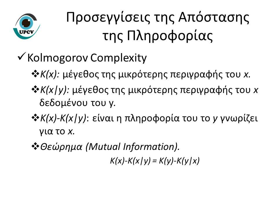 Kolmogorov Complexity  K(x): μέγεθος της μικρότερης περιγραφής του x.  K(x|y): μέγεθος της μικρότερης περιγραφής του x δεδομένου του y.  K(x)-K(x|y