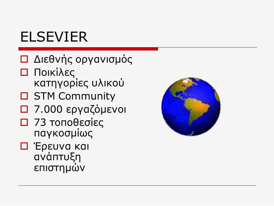 ELSEVIER  Διεθνής οργανισμός  Ποικίλες κατηγορίες υλικού  STM Community  7.000 εργαζόμενοι  73 τοποθεσίες παγκοσμίως  Έρευνα και ανάπτυξη επιστημών
