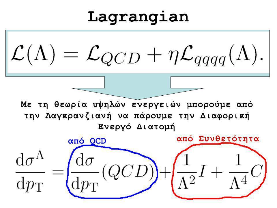 Lagrangian Με τη θεωρία υψηλών ενεργειών μπορούμε από την Λαγκρανζιανή να πάρουμε την Διαφορική Ενεργό Διατομή από QCD από Συνθετότητα