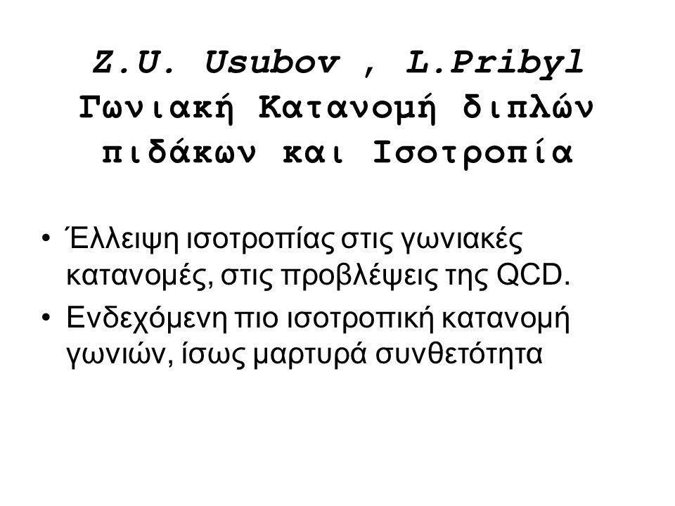 Z.U. Usubov, L.Pribyl Γωνιακή Κατανομή διπλών πιδάκων και Ισοτροπία Έλλειψη ισοτροπίας στις γωνιακές κατανομές, στις προβλέψεις της QCD. Ενδεχόμενη πι