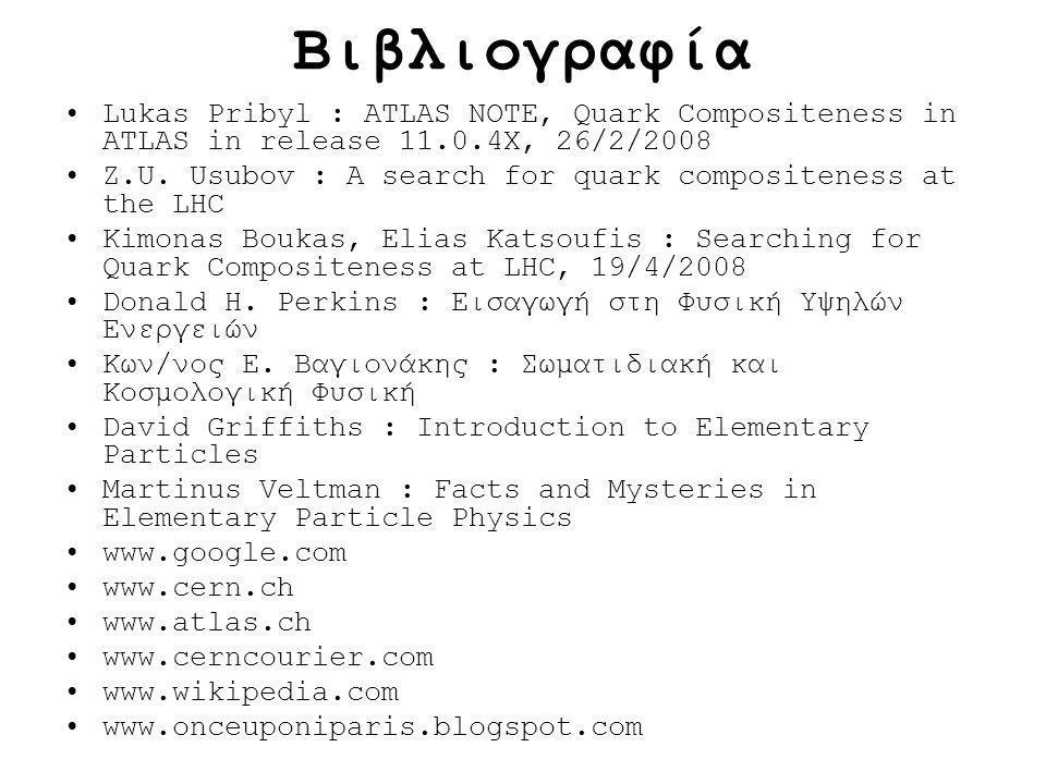 Βιβλιογραφία Lukas Pribyl : ATLAS NOTE, Quark Compositeness in ATLAS in release 11.0.4X, 26/2/2008 Z.U. Usubov : A search for quark compositeness at t