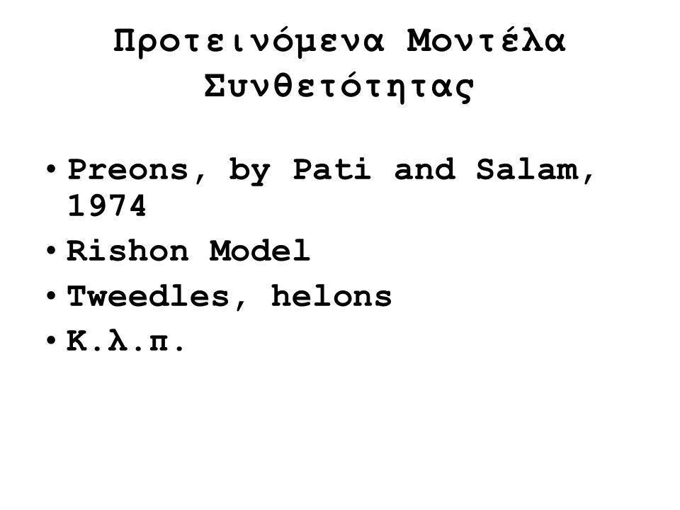 Προτεινόμενα Μοντέλα Συνθετότητας Μοντέλο Rishon : 2 είδη ρισονίων (rishons) : ένα φερμιόνιο T με φορτίο 1/3 e, ένα ουδέτερο φερμιόνιο V