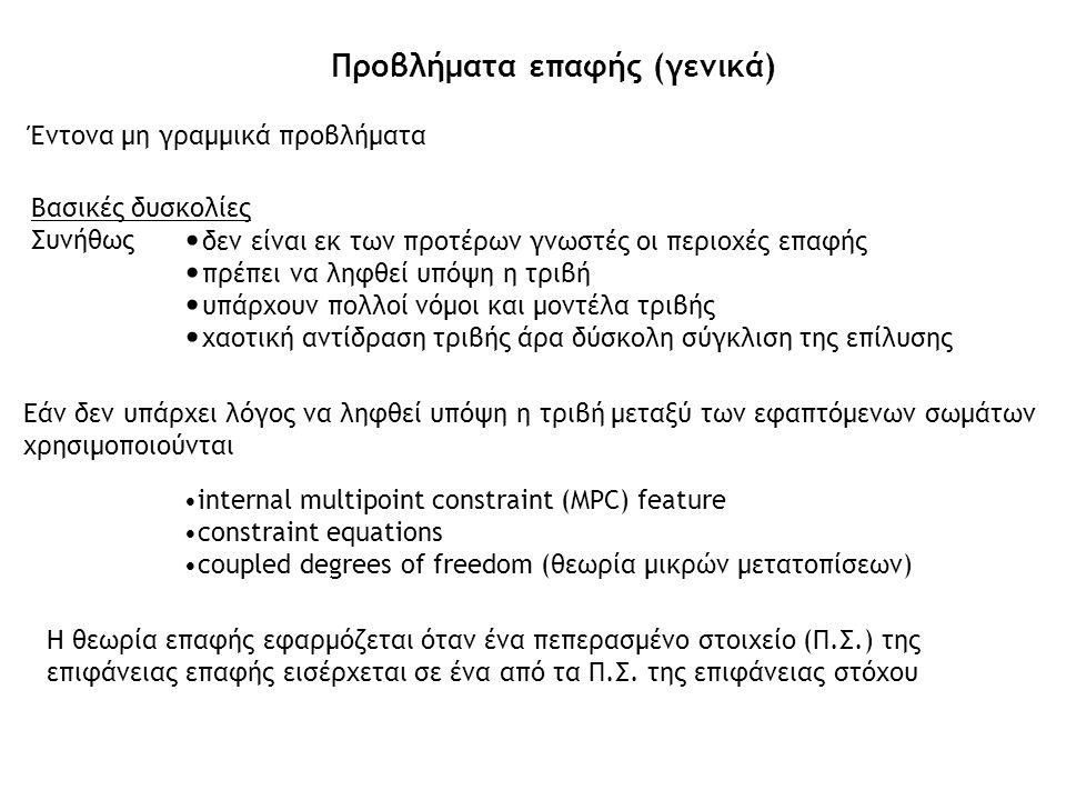 Έντονα μη γραμμικά προβλήματα Προβλήματα επαφής (γενικά) Εάν δεν υπάρχει λόγος να ληφθεί υπόψη η τριβή μεταξύ των εφαπτόμενων σωμάτων χρησιμοποιούνται